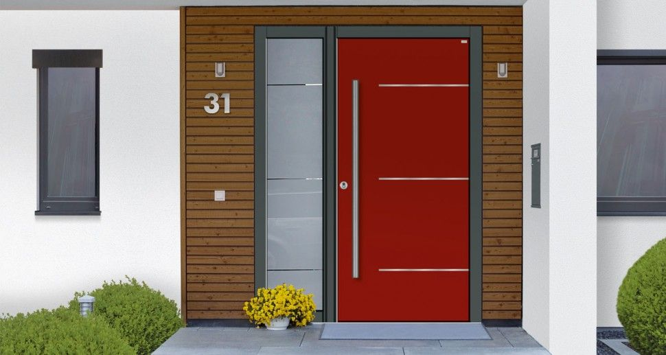 contemporary red front door with cedar entry on white house opaque rh pinterest com contemporary red front doors