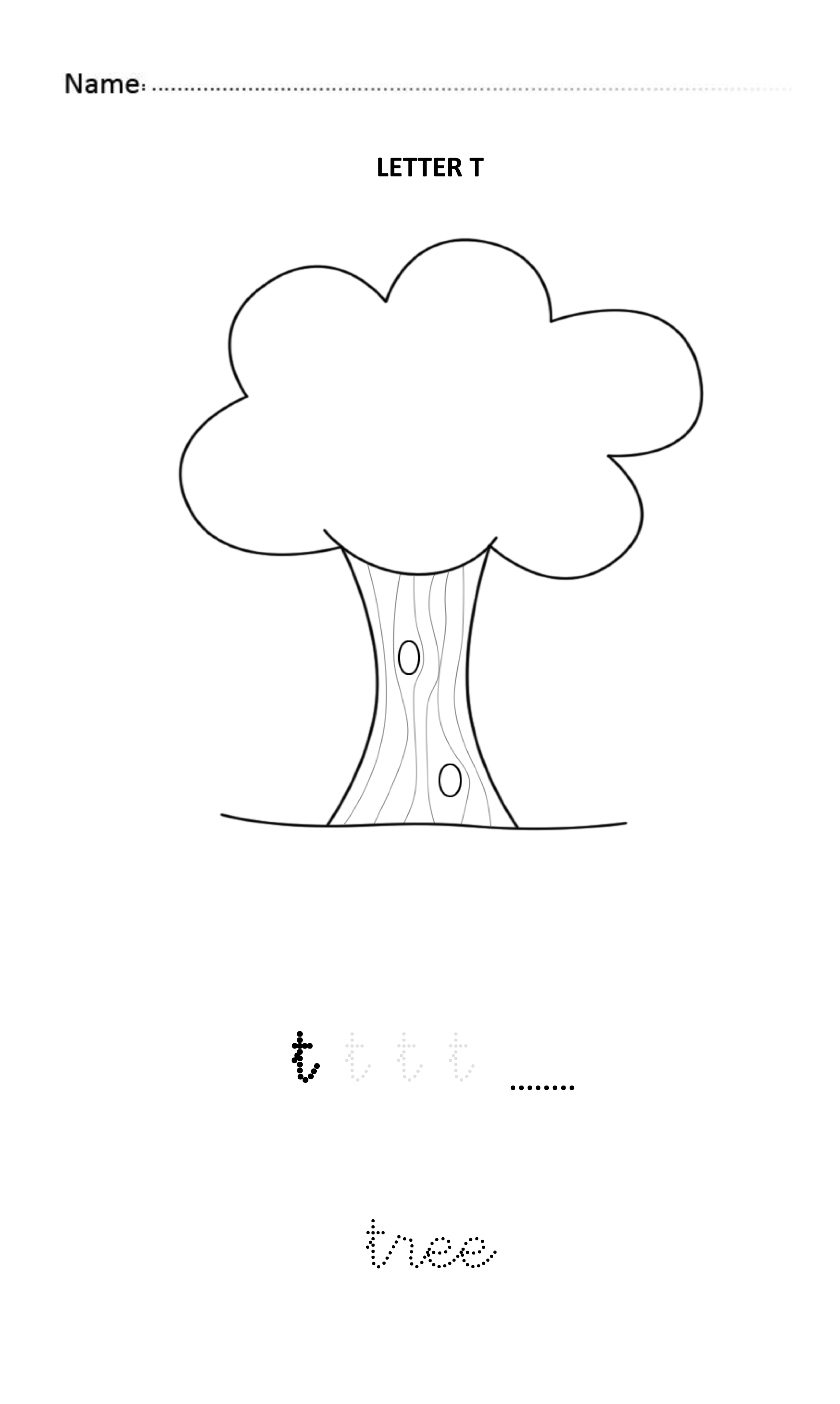 Letter T Easy And Visual Colouring Worksheet For Early