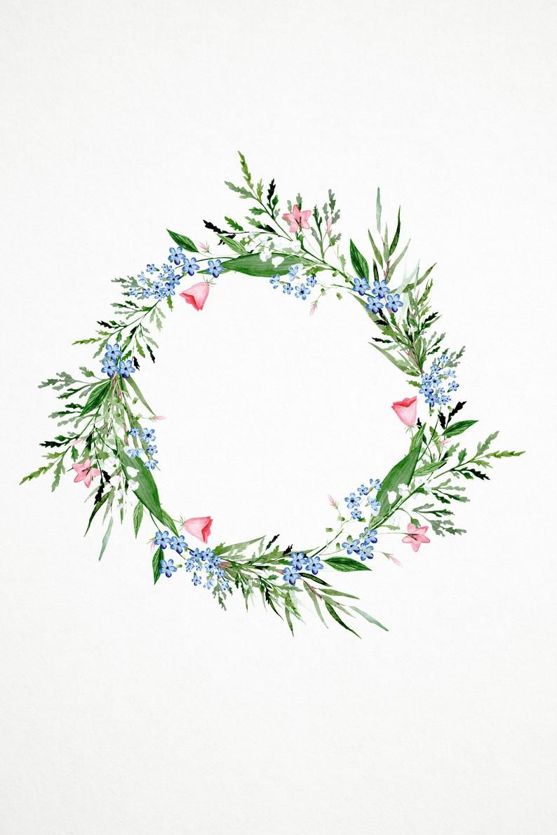 Forget Me Not Wreath Watercolor Clipart Watercolor Flower Clipart