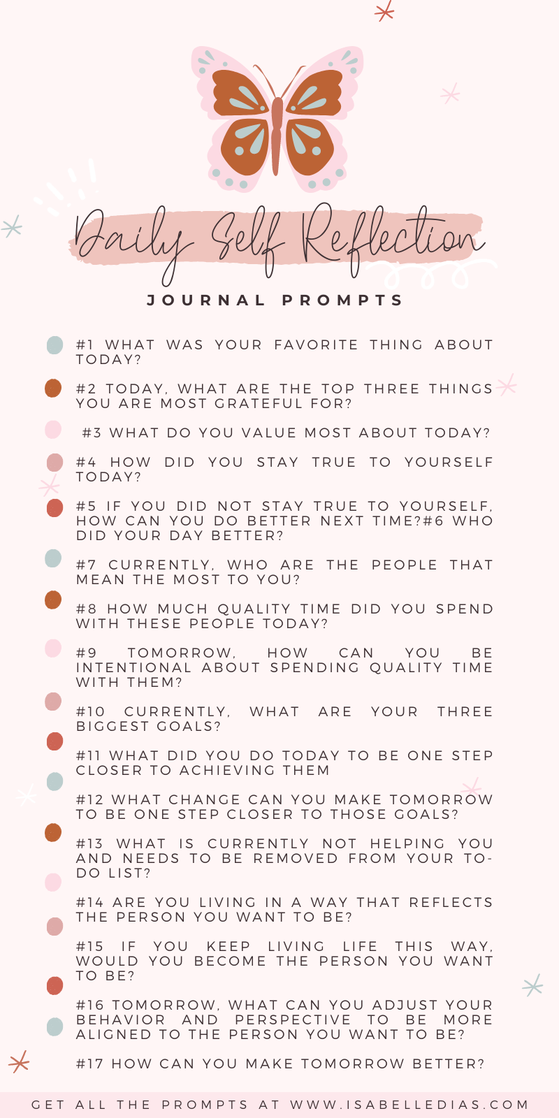 Daily Self Reflection Positive Journal Prompts