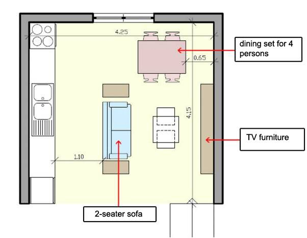 How To Arrange Furniture In A Small Open Plan Kitchen Living Room?