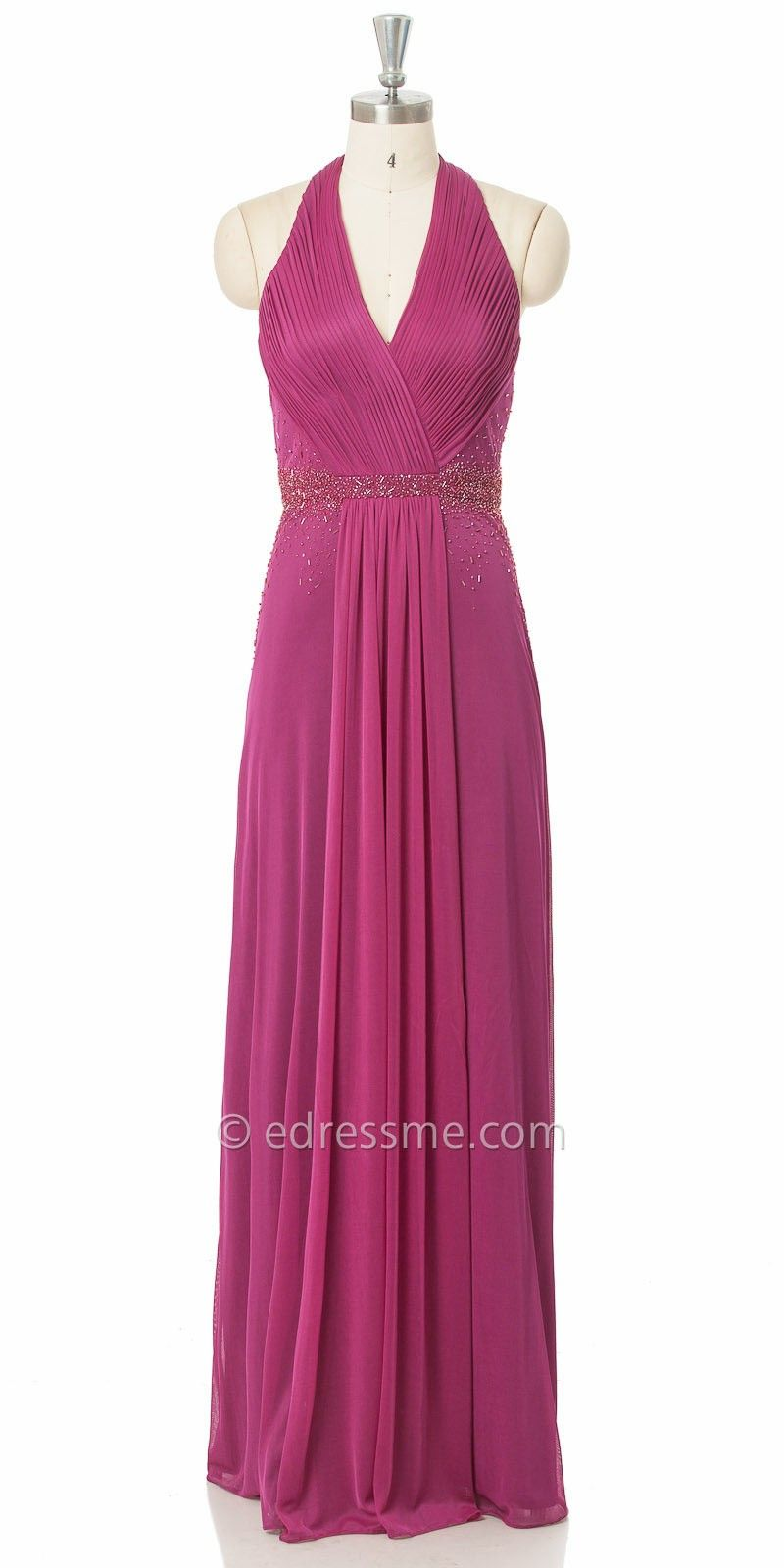 Pleated v neck embellished evening dress by js boutique fashion
