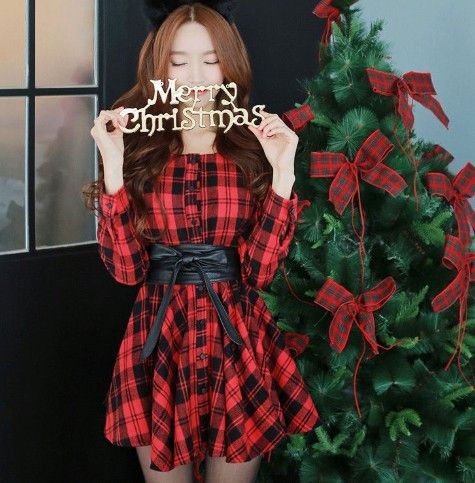 Cute sweet christmas princess grid dress