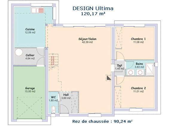 Un large espace à vivre jouxté d\u0027une cuisine ouverte avec son - plan maison etage m