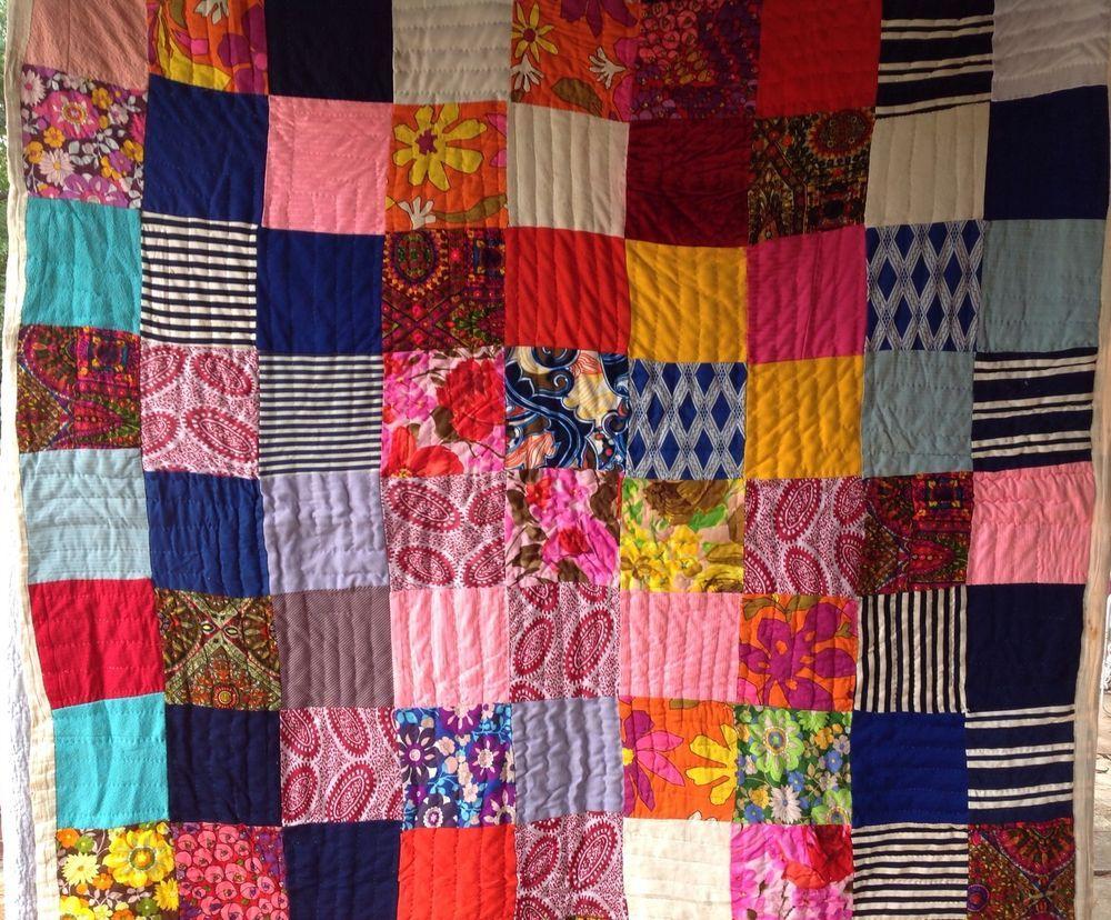 Vintage RETRO PATCHWORK Quilt HIPPIE COOL Polyester Knit ...