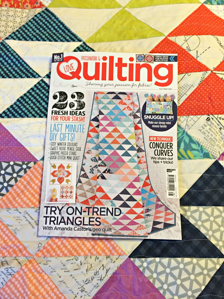 Triangle Parade quilt by Amanda  Castor of Material Girl Quilts in Issue 28 of Love Patchwork & Quilting magazine