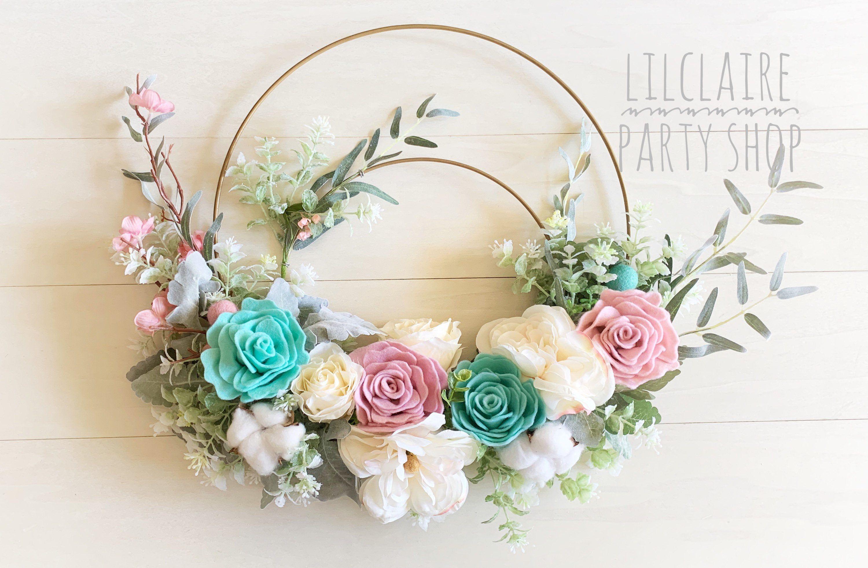 Photo of Wreath, Double Hoop Wreath, Summer Wreath, Vintage Wreath, Felt Flowers, Spring Wreath, Modern Wreath.