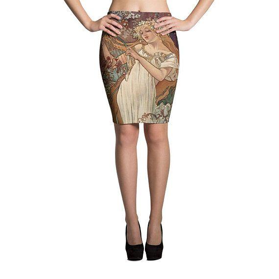 688bfa83f1bb9 Alphonse Mucha Art Nouveau Spandex Pin Up Pencil Skirt Hippie Clothes  Bohemian Dress Gypsy Festival Clothing Burning Man Rave Clothing Boho