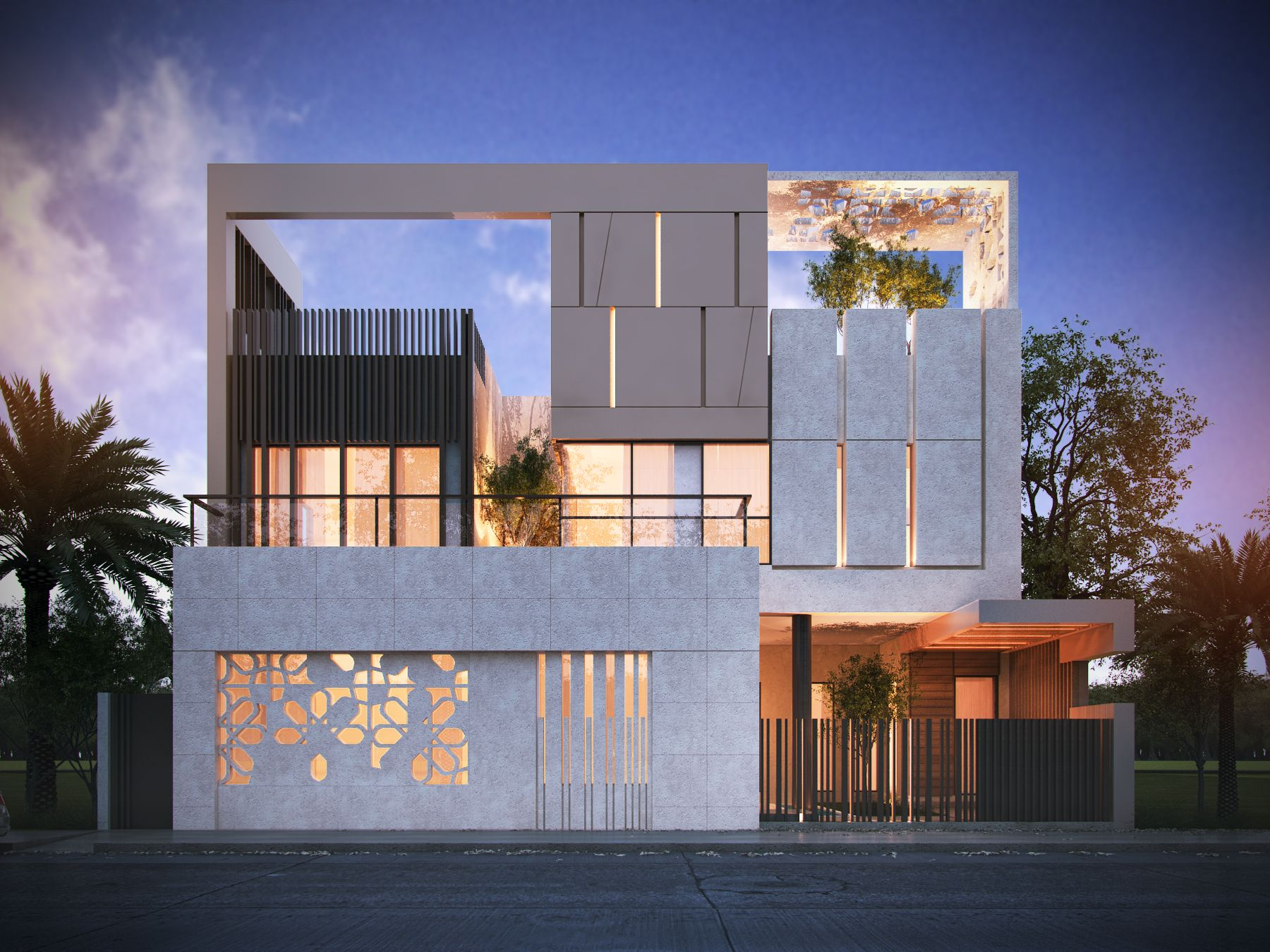 Private villa 600 m sarah sadeq architects sarah sadeq for Contemporary building elevation