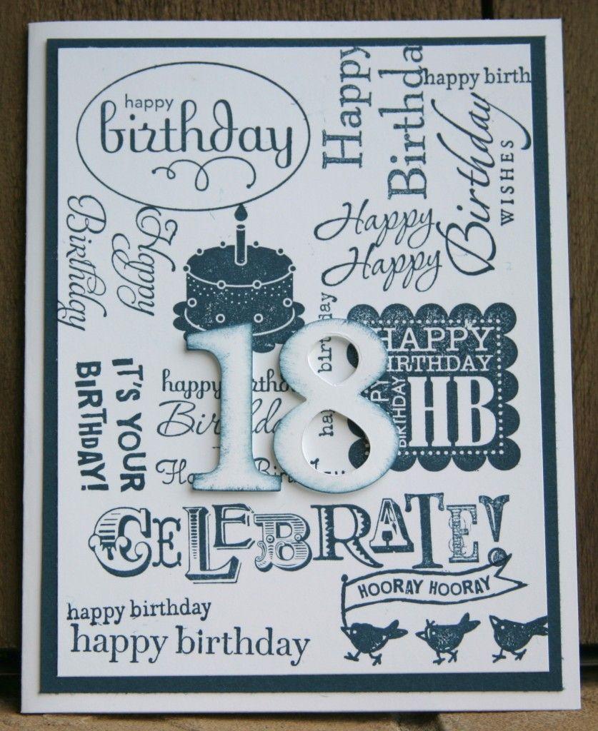 Stampin Up Collage Happy Birthday Handmade Card 18th Birthday Cards Birthday Cards 21st Birthday Cards