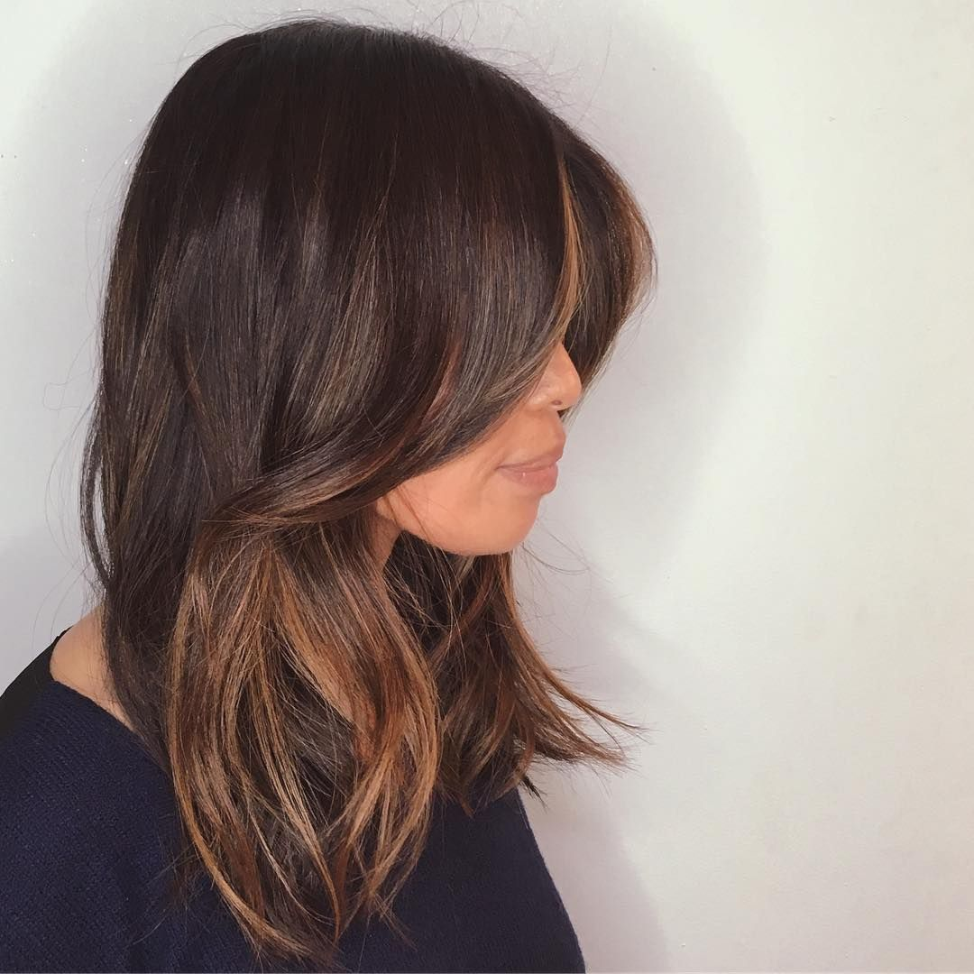 Crisp mid length with a curtain fringe and lots of weight sliced ...