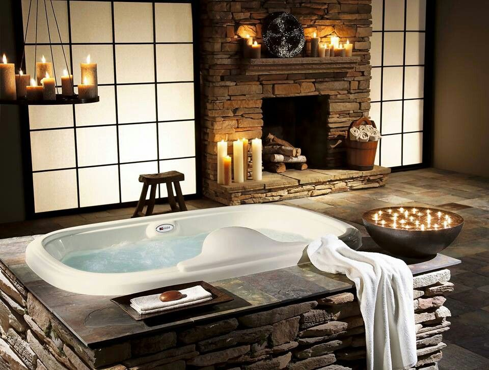 Fireside drop in tub Cabin ideas Pinterest Tubs, Cabin and