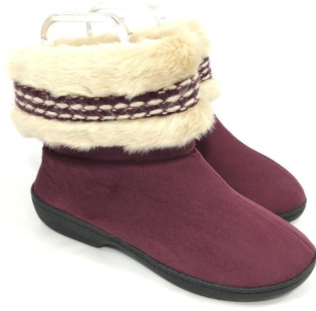 4e75a4901221 Isotoner Womens Slippers Bootie Burgundy Red Faux Fur Size 7.5 8 Indoor  Outdoor  isotoner  BootieSlippers