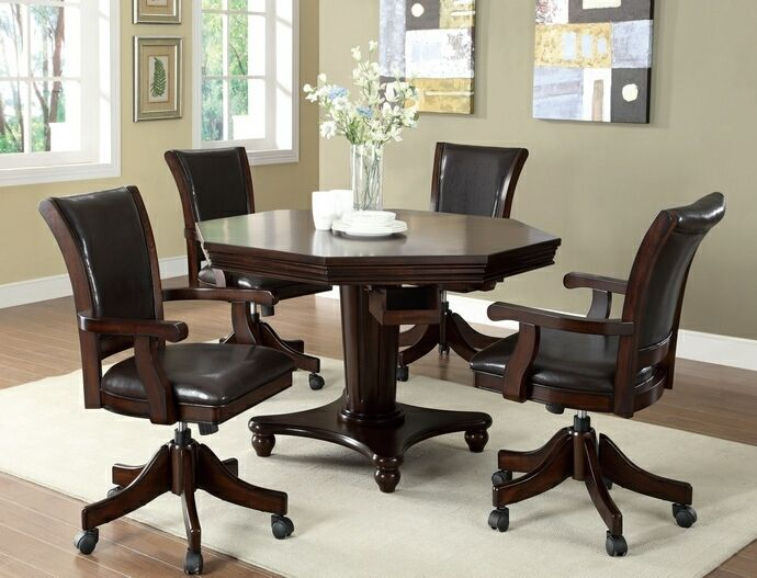 5 Pc Marcus Collection Dark Espresso Finish Wood Three In One Game Table ,  Dining,