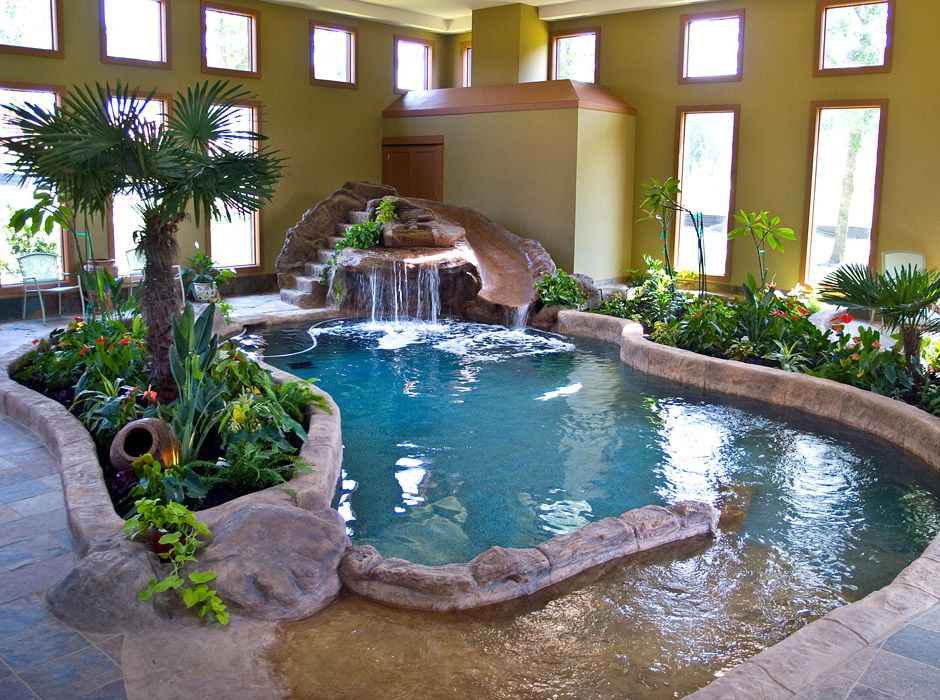 Indoor pool with slide  rock feature pool slide - Google Search | Pool! | Pinterest | Pool ...
