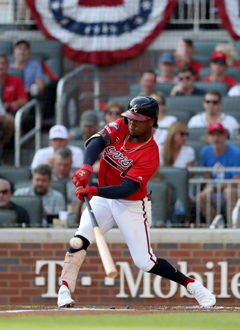 9 4 19 Ozzie Albies In Game 2 Of Playoffs Atlanta Braves Baseball Braves Baseball Atlanta Braves