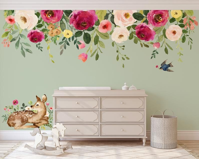 JESSICA'S FARMHOUSE Bouquet 02 Floral Wall Mural Peonies Blooms Wall Decal Watercolor Flowers Blossoms Wall Vinyl and Fabric Decals#blooms #blossoms #bouquet #decal #decals #fabric #farmhouse #floral #flowers #jessicas #mural #peonies #vinyl #wall #watercolor