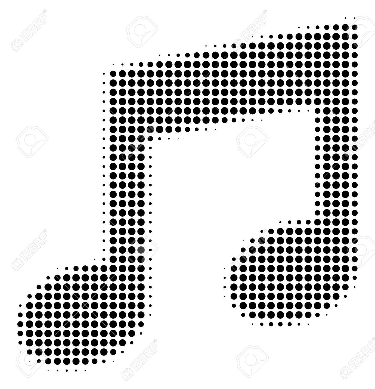 Music Notes halftone vector icon. Illustration style is ...