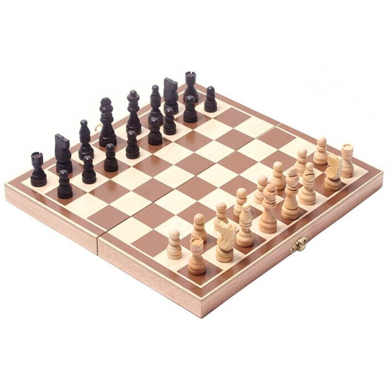 Vintage Wood Pieces Chess Set Folding Board Box Wood Hand Carved VBT73 T16  0.5