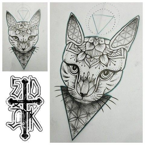 Mandala Tattoo Cat Recherche Google Cat Tattoo