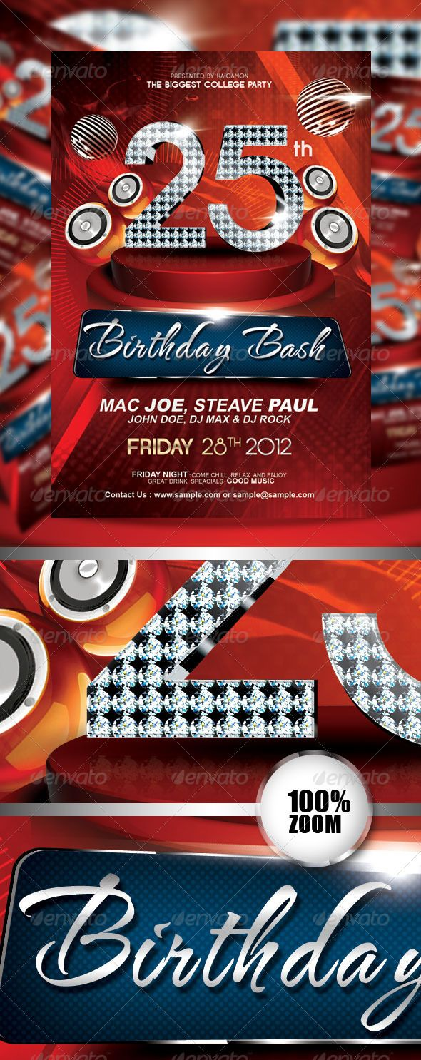 Magnificent Birthday Invitation Flyer PSD Template • Only available ...