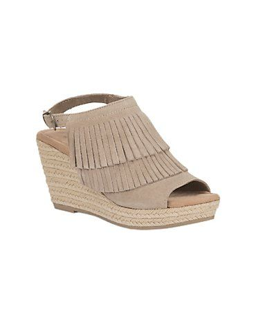 Minnetonka Ladies Taupe Suede 2 Layer Fringe Wedge