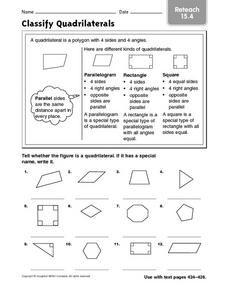 Classify Quadrilaterals reteach 15.4 Worksheet | Lesson Plans ...