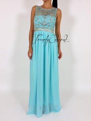 ee493e67e174 Spoločenské šaty Glamour - tyrkysové T6548