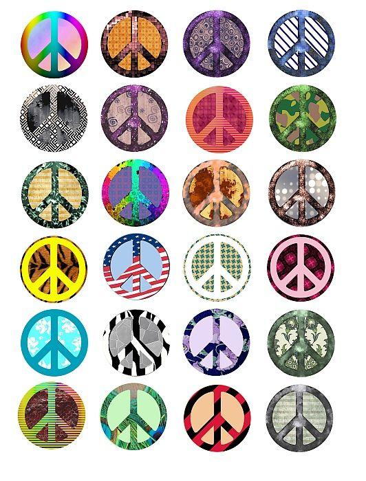 Hippie Retro Peace Signs Symbol Clip Art Pattern Circles Textures