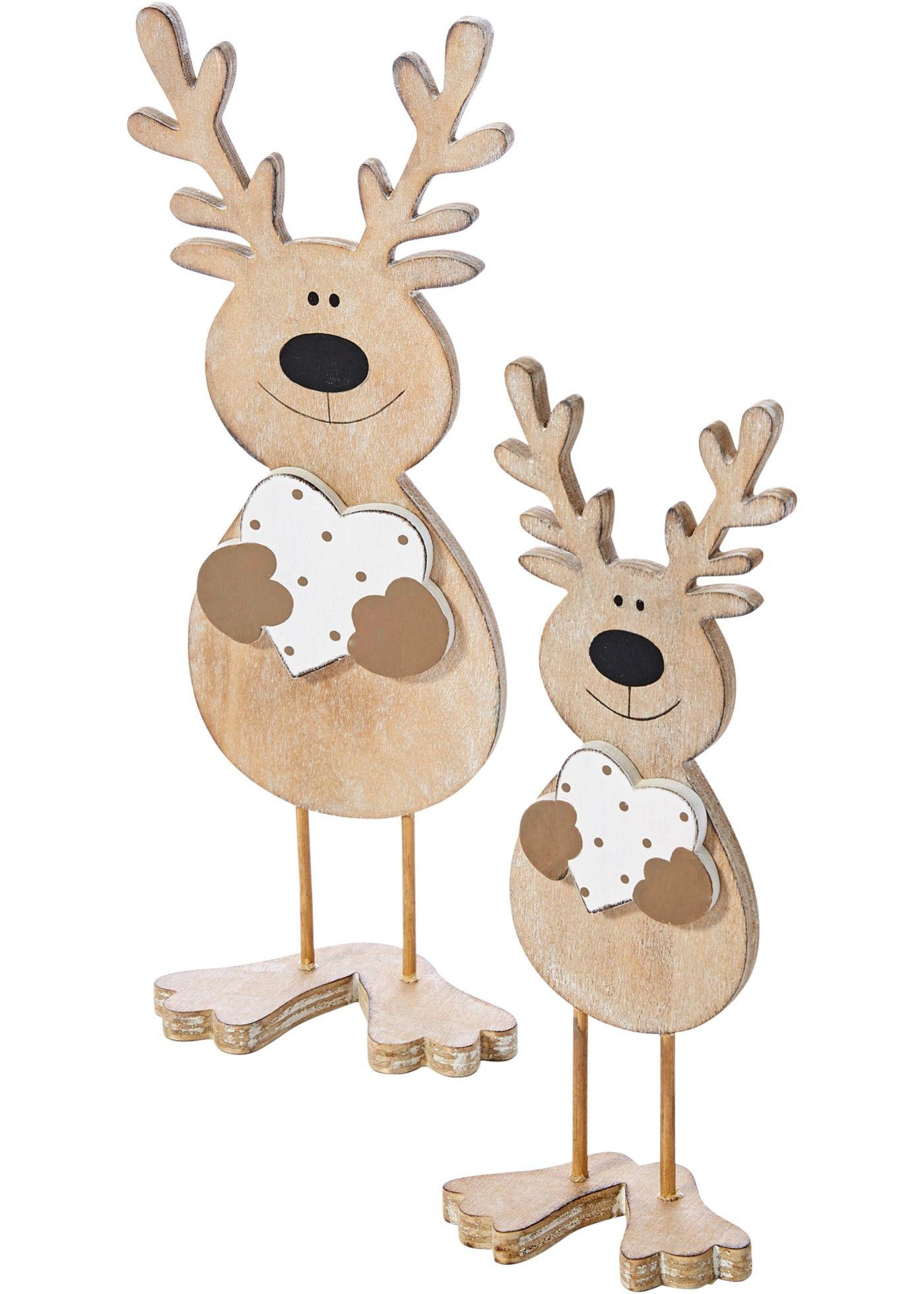 Deco Noel En Bois Naturel commandez maintenant décoration en bois cerf (ens. 2 pces