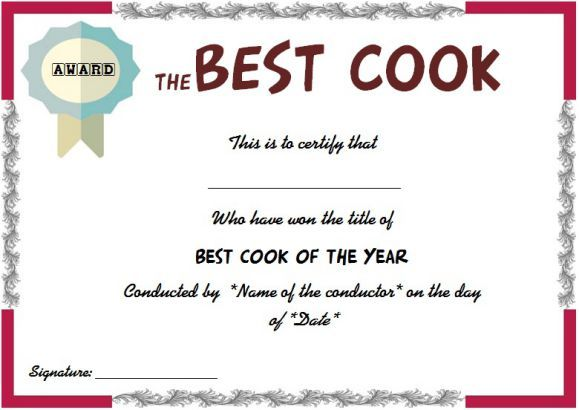 Best cook certificate cook certificate pinterest for Chili award certificate template