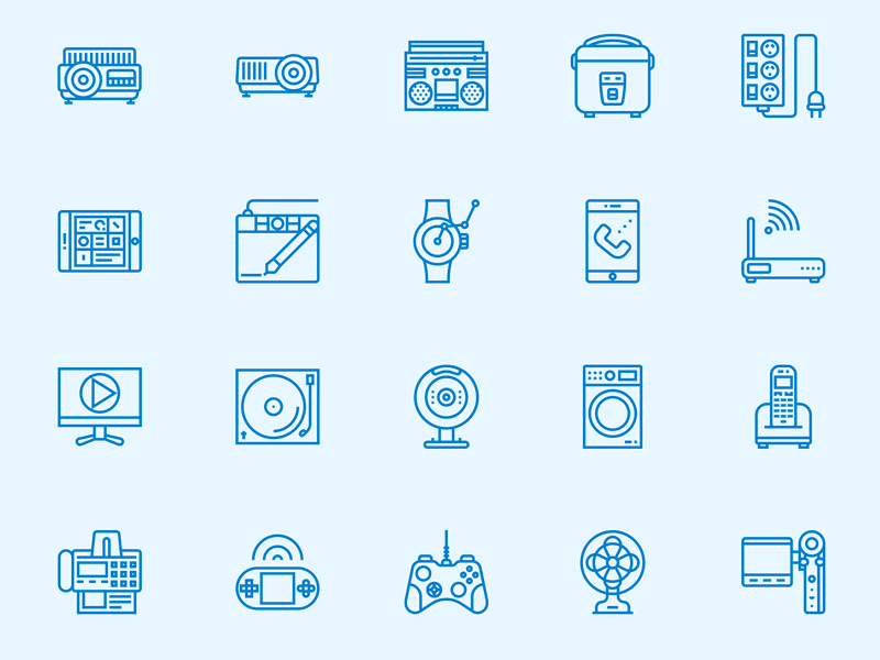Electronic Devices Line Icons Set Icon set, Free design