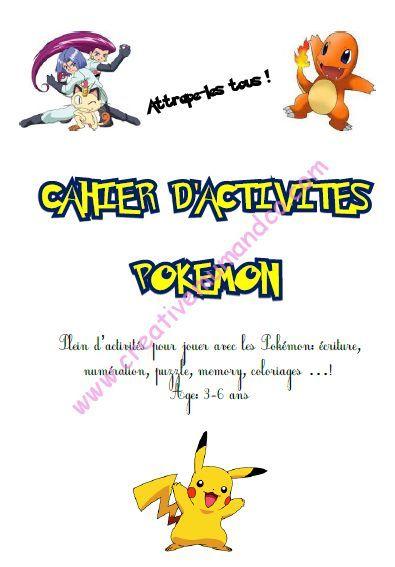 Deux cahiers d 39 activit s pokemon gratuit t l charger pour les maternelles et les primaires - Pokemon gratuit ...