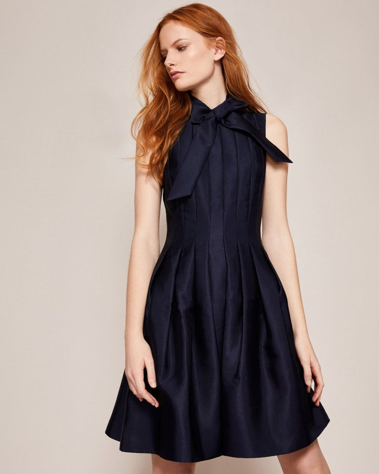 658c9571433fb Bow tie neck dress - Navy