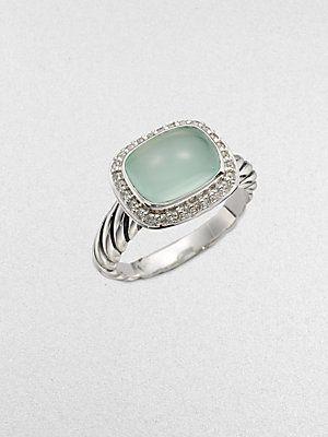 David Yurman Diamond Accented Aqua Chalcedony Ring - $695