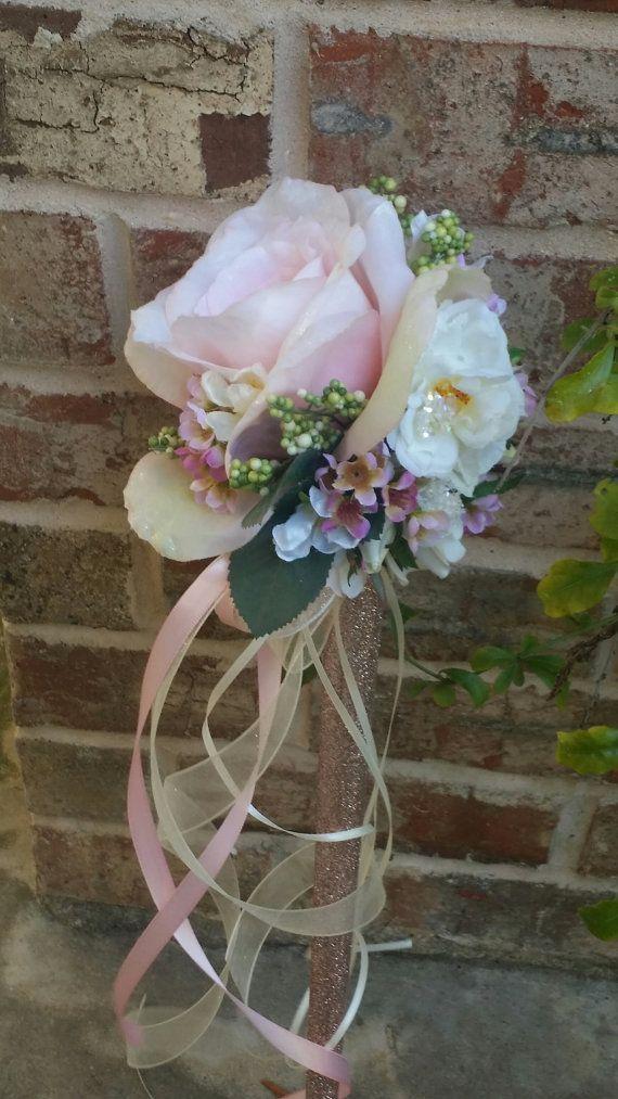 Blush Pink Rose Ivory Flower Girl Wand Custom Order   Flower girl ...