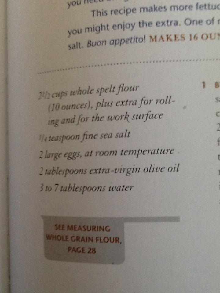 Homemade spelt fettuccine ingredients buon appetito