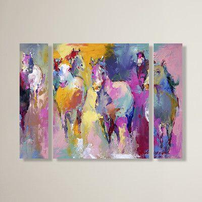 Latitude Run Wild By Richard Wallich 3 Piece Painting Print On Wrapped Canvas Set Size 24 H X 32 W X 2 D Horse Wall Art Canvases Wall Canvas Canvas Art