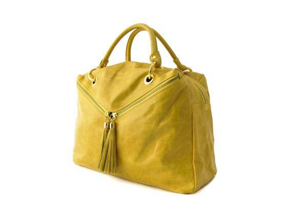 e8e70804fad9 Handmade Tote Bag Yellow Italian Leather Purse by TRACCEleather ...