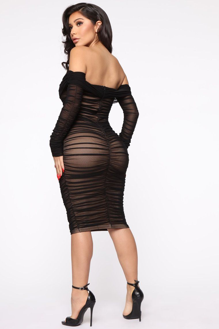 Ready In A Ruched Off Shoulder Midi Dress Black