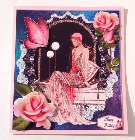 Rose Pink Lady and Lace with Decoupage by Jenny Archer