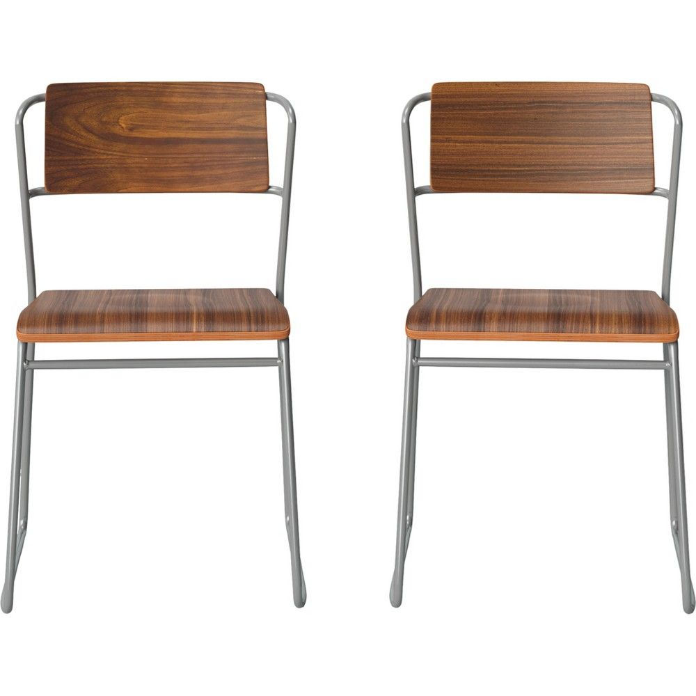 Set Of 2 Killiam Mixed Material Sled Dining Chair Wood And Metal