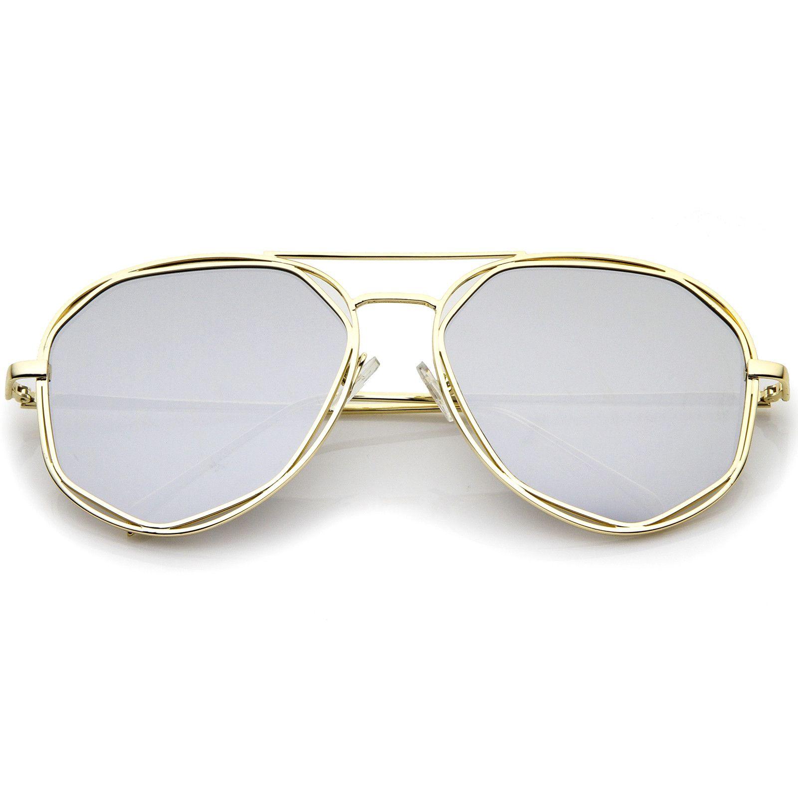 94a73eb6f1e9f Geometric Hexagonal Metal Frame Colored Mirror Flat Lens Aviator Sunglasses  60mm