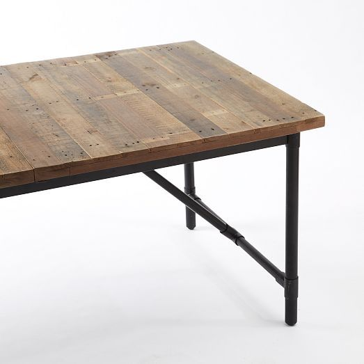 emmerson industrial expandable dining table west elm perhaps i could make something like. Black Bedroom Furniture Sets. Home Design Ideas