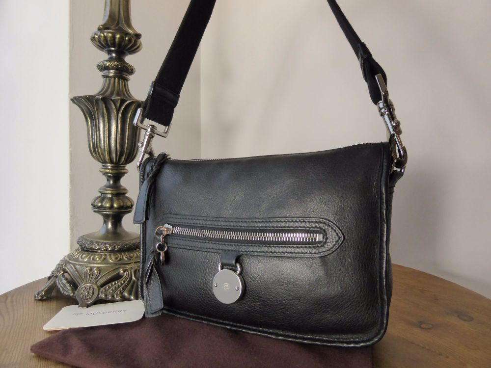 Mulberry Somerset Small Shoulder Bag In Black Pebbled Leather