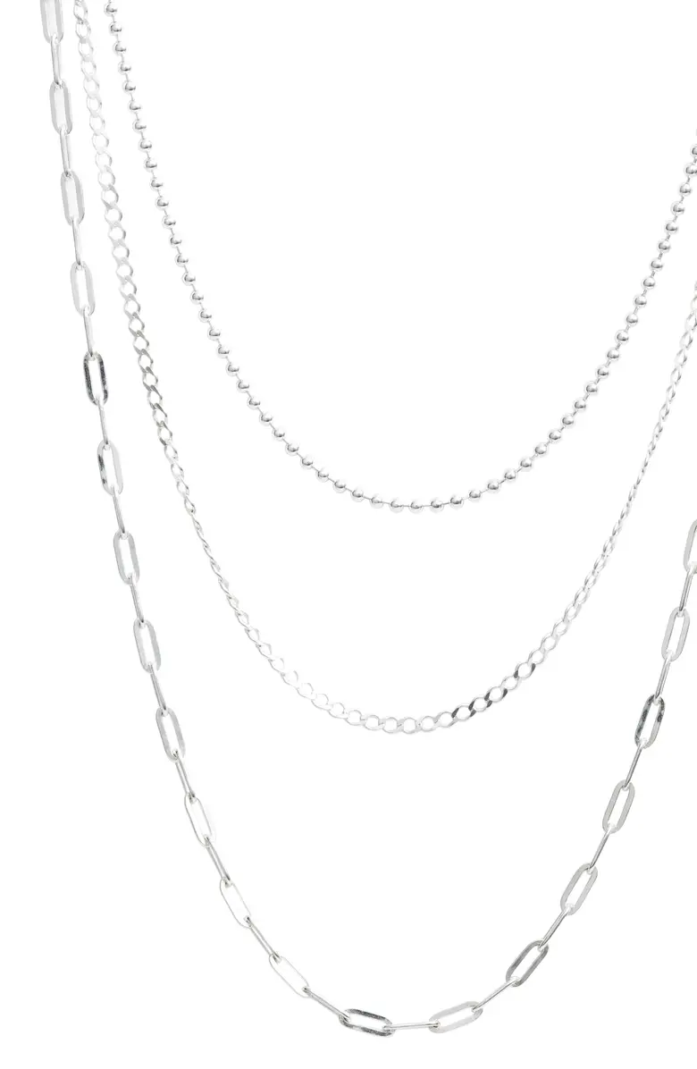 Argento Vivo Sterling Silver Three Row Layered Chain Necklace Nordstrom Layered Chains Sterling Silver Layered Necklace Layered Necklaces Silver