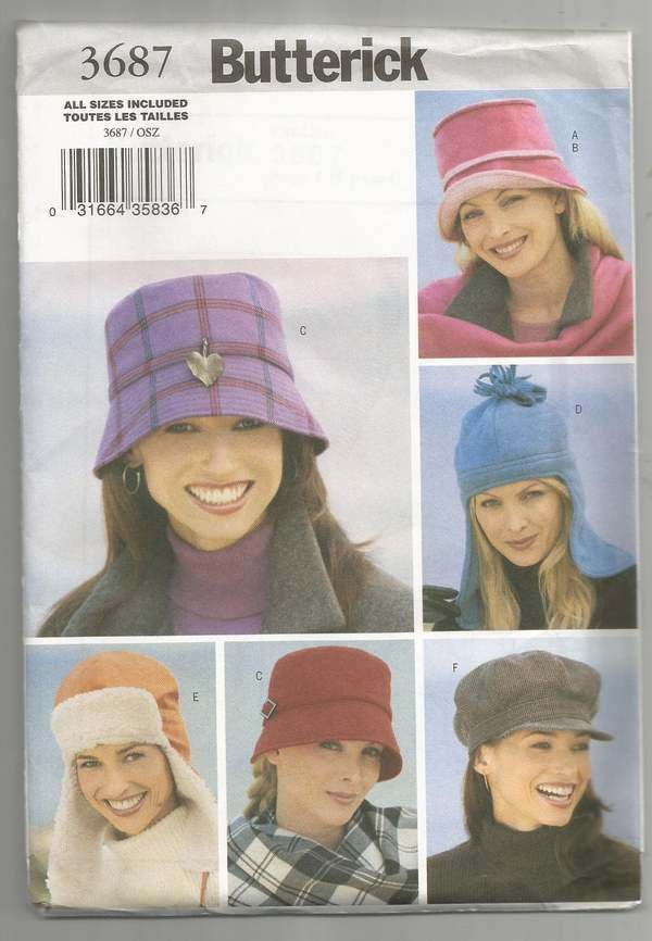 af7d7f89b6 BUTTERICK 3687 WOMEN S MISSES HATS PATTERN-Varying Styles-All Sizes UNCUT   BUTTERICK