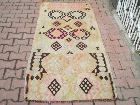 Vintage Turkish Kilim Rug 85 x 35 inches by OLDVINSHOP on Etsy