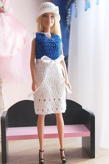 Kostenlose Häkelanleitung für Barbie Kleid und Hut | Puppenkleidung ...