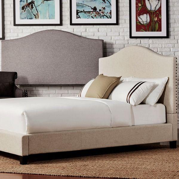 Best Blanchard Nailheads Camelback Beige Linen Upholstered Full 640 x 480